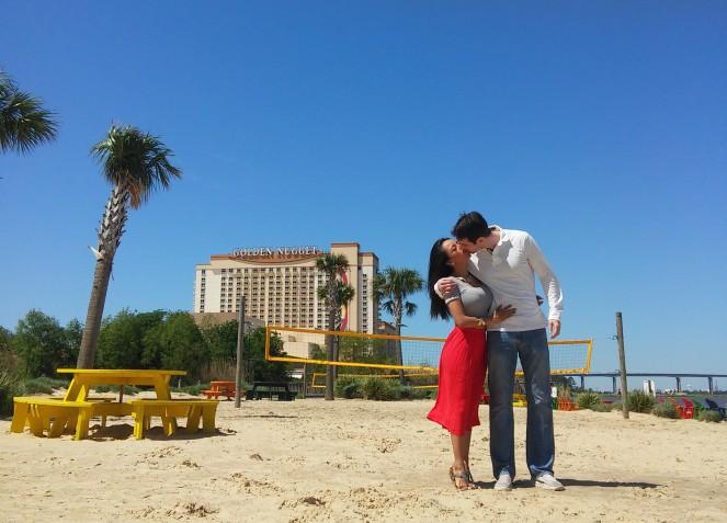 LizJerry Kiss at Lauberge Beach